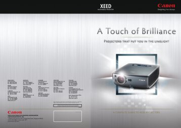 A COMPLETE GUIDE TO XEED PROJECTORS - Canon in South ...