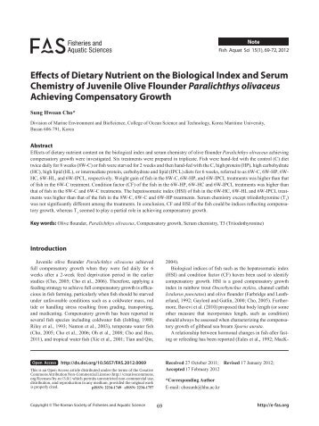 Effects of Dietary Nutrient on the Biological Index and ... - E-fas.org
