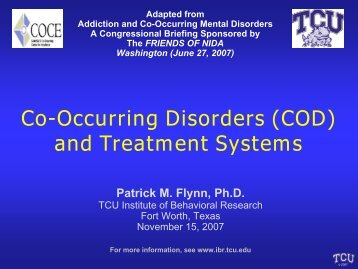 Co-Occurring Disorders and Treatment Systems