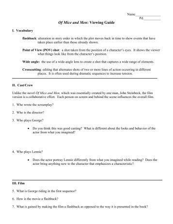 Mice And Men Summer Study Guide Answers