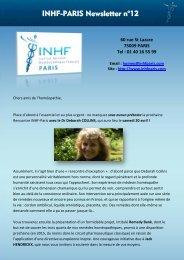 Télécharger la Newsletter n°12 - Institut national homeopathique