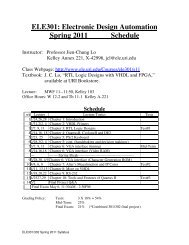ELE301: Electronic Design Automation Spring 2011 Schedule