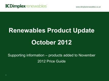 Renewables Product Update October 2012 - Dimplex