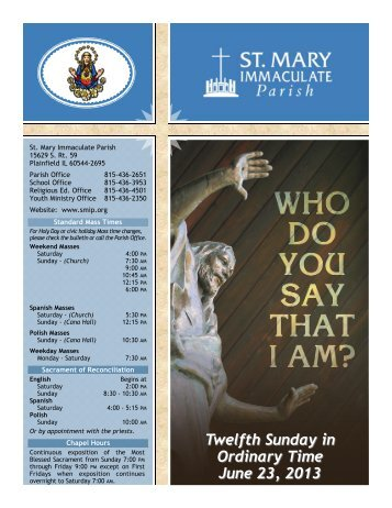 Twelfth Sunday in Ordinary Time June 23, 2013 - St Mary ...