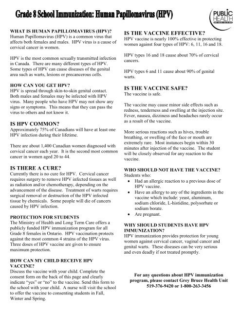 HPV Vaccine Consent form - Grey Bruce Health Unit