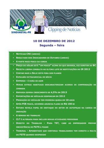 10 DE DEZEMBRO DE 2012 Segunda – feira - Sindimetal/PR