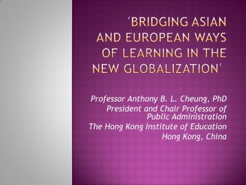 'Bridging Asian and European Ways of Learning in the New ...