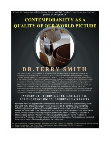 Download event flyer - University of Pittsburgh History of Art and ...