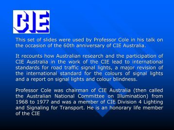 Leading the way in traffic signal design - past and future - CIE Australia
