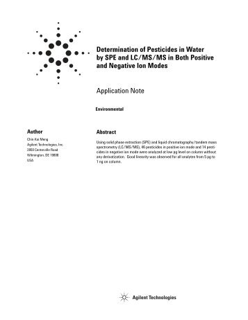 Determination of Pesticides in Water by SPE and LC/MS/MS in Both ...