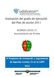 Evaluación del grado de ejecución del Plan de acción 2011 - Arrieta