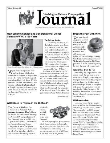 Journal - Washington Hebrew Congregation