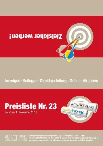 Preisliste Nr. 23 - Sachsen Sonntag & Leipziger Rundschau