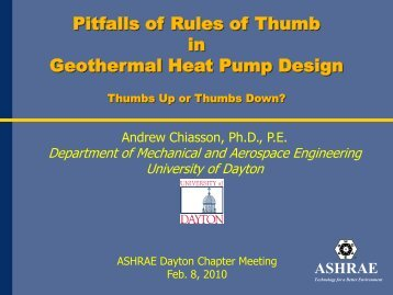 Geothermal Heat Pump Presentation - Dayton ASHRAE