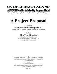CYDF Project Proposal to Sinagtala '87 - Calantas Young Dreamers ...