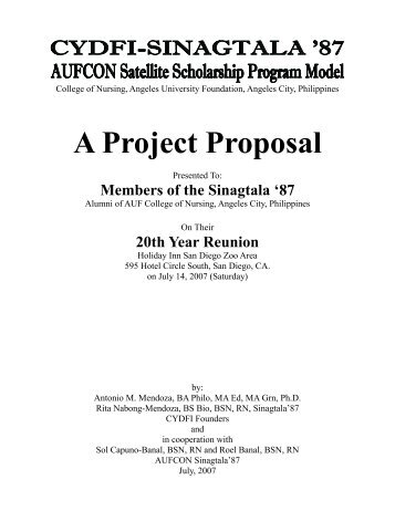CYDF Project Proposal to Sinagtala '87 - Calantas Young Dreamers ...