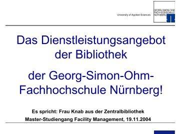 Dienstleistungsangebot der Bibliothek für Facility Management