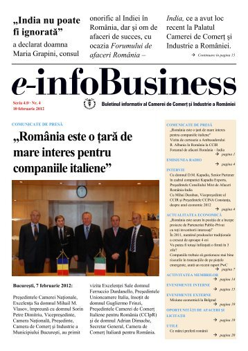 e-infoBusiness nr. 4/10.02.2012 - Camera de Comert si Industrie a ...