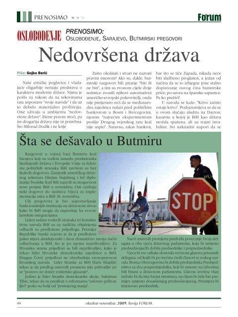 Oktobar - novembar, 2009. go di ne Broj 12 www.forumbosnjaka.com ...