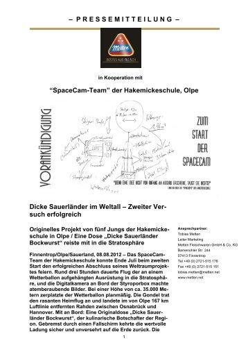 """""""SpaceCam-Team"""" der Hakemickeschule, Olpe Dicke Sauerländer im"""