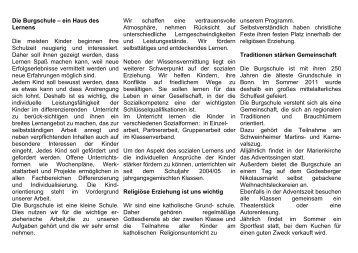 Die Burgschule – ein Haus des Lernens Die ... - KGS Burgschule