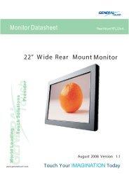 "22"" Wide Rear MountMonitor Monitor Datasheet - TFT-Solutions BV"