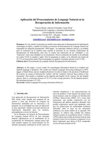 Aplicación del Procesamiento de Lenguaje Natural en la - RUA ...