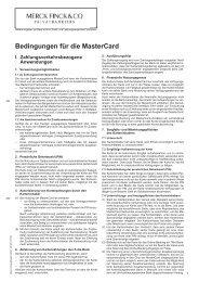 Bedingungen für die MasterCard