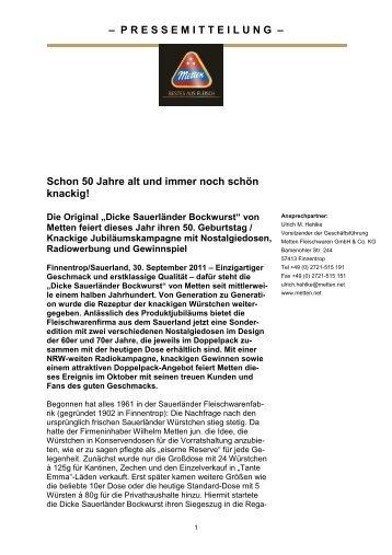 PRESSEMITTEILUNG - Metten Fleischwaren