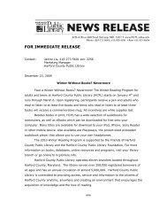 FOR IMMEDIATE RELEASE - Harford County Public Library