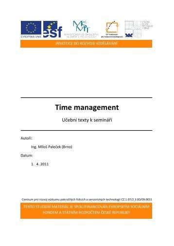 Time management - Centrum pro rozvoj výzkumu pokročilých ...