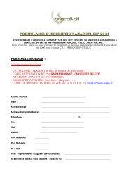 FORMULAIRE D'INSCRIPTION ANACOFI-CIF 2011