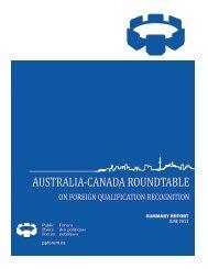 AUSTRALIA-CANADA ROUNDTABLE - Public Policy Forum