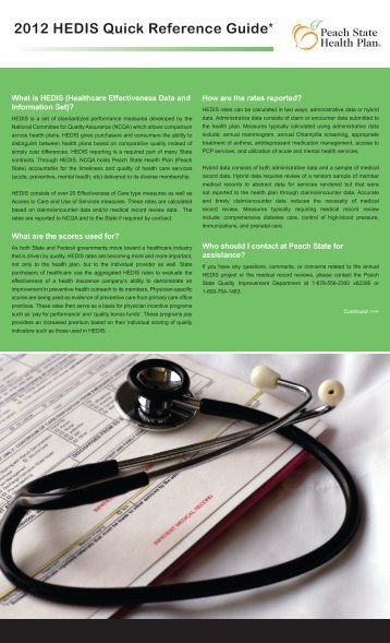 2012 HEDIS Quick Reference Guide* - Peach State Health Plan ...