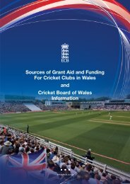Sources of Grant Aid and Funding For Cricket Clubs in Wales and ...