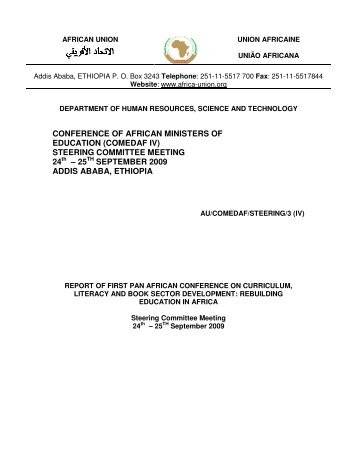 CONFERENCE OF AFRICAN MINISTERS OF ... - African Union