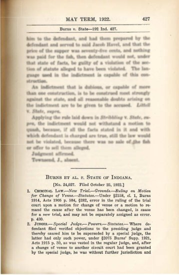 Burns et al. v. State of Indiana,192 Ind. 427 - The Clarence Darrow ...