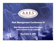 Risk Management Best Practices and Lessons to be Learned