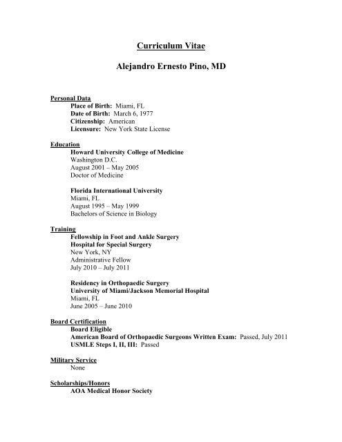 Curriculum Vitae Alejandro Ernesto Pino, MD