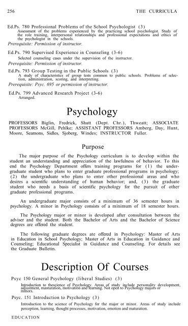 Psychology Description Of Courses