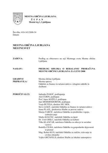 Odlok o rebalansu proračuna MOL za leto 2008 - Ljubljana