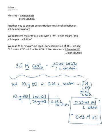liters solution Molarity = moles solute Another way to express ...
