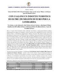 con i saloni un indotto turistico di oltre 250 milioni di euro per la ...