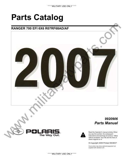 2007 Polaris Ranger 700 Efi 6x6 Parts Manual