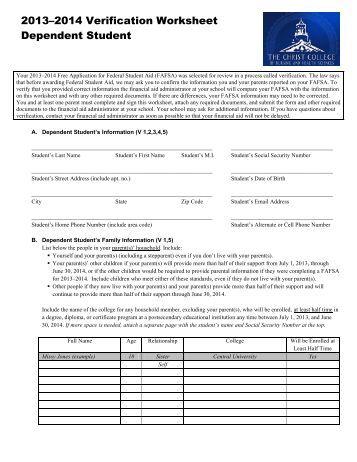 Worksheets Verification Worksheet Dependent Student verification worksheet dependent student 2013 14 worksheet