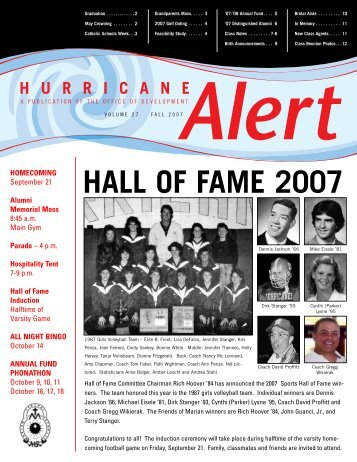 HALL OF FAME 2007 - Marian Central Catholic High School