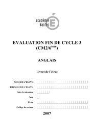 EVALUATION FIN DE CYCLE 3 (CM2/6 ) - Balises