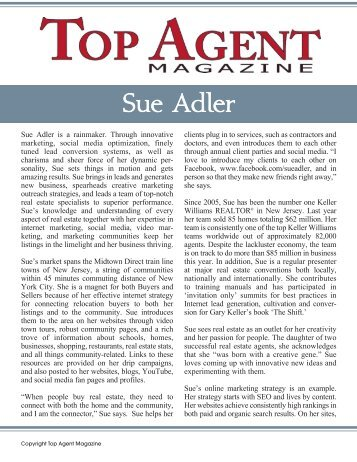 Sue Adler - Top Agent Magazine