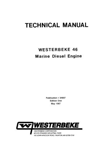 TECHNICAL MANUAL WESTERBEKE 46 Marine Diesel Engine