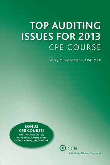 TOP AUDITING ISSUES FOR 2013 - CCH